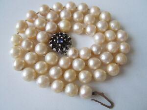 Echte-Perlen-Kette-mit-Jka-835-Silber-Verschluss-Saphir-35-5-g-47-cm