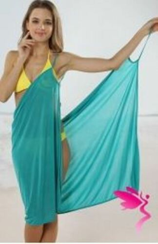 LADIES CLASSIC BEACH BIKINI COVER UP SWIMWEAR WRAP DRESS CAFTAN SARONG One Size
