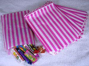 100-Pink-amp-White-Candy-Stripe-Paper-Sweet-Bags-Wedding-5-034-X-7-034-Pick-034-n-034-Mix-Bags