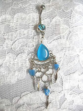 NEW BABY BLUE CATS EYE DROPLET BELLY DANCER 14g TURQUOISE CZ BELLY RING BARBELL