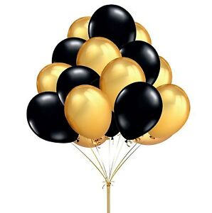 25-4cm-OR-NOIR-ballons-en-Latex-Helium-air-Qualite-Fete-Deco-balons-balons