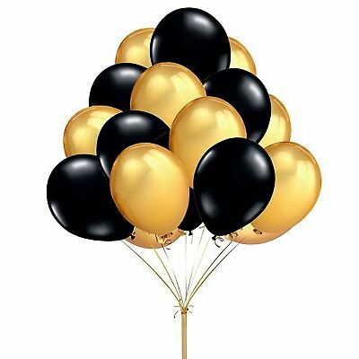 Gold & Black Latex Balloons helium/air quality for birthday wedding party baloon