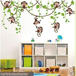 Wandtattoo Affe Schaukel Affen Wandaufkleber Kinderzimmer Wand