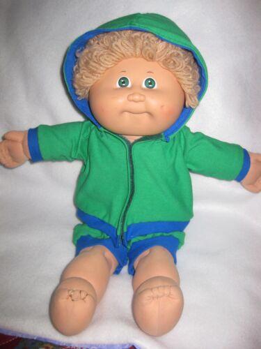 CPK boy doll clothes//handmade green hooded knit jacket w//green shorts//blue trim