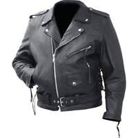 Motorcycle Jacket Genuine Cowhide Leather Classic by Rocky Mountain Hides M- 3XL