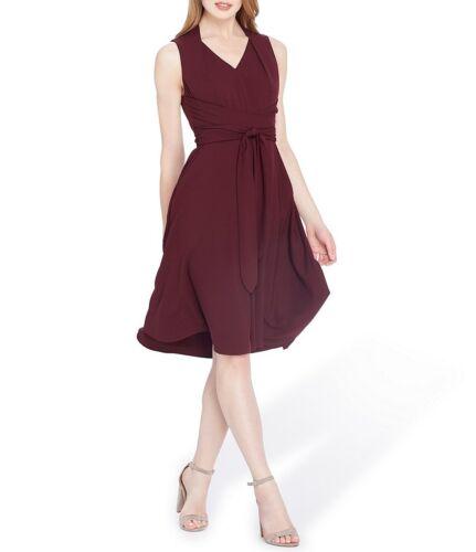 Tahari 7220M435 Raisin Purple BiStretch Fit //Flare Self-Tie Dress w//Pockets $134