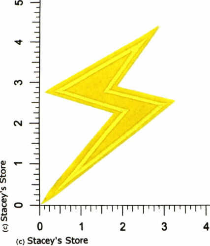 THE FLASH LF-544 ELECTRIC ZAP APPLIQUE LARGE YELLOW LIGHTNING BOLT PATCH
