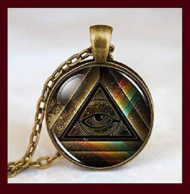 Vintage Cabochon Glass Necklace Silver Black bronze pendants(Eye of Providence