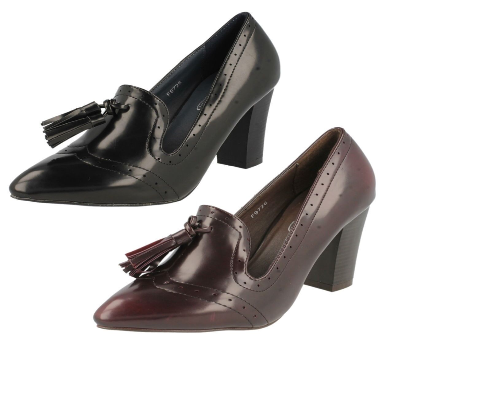 Spot On F9726 Ladies Block Heeled Brogue Court Shoes *Available in 2 Colours*