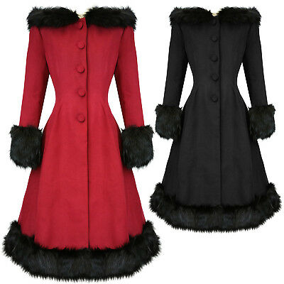 Hell Bunny Elvira Dramatic Statement Long Hooded Vintage Fur Collar Winter Coat Ausgereifte Technologien