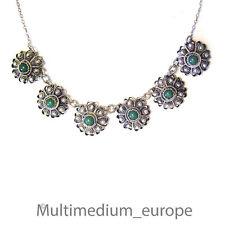 Vintage 835 Silber Halskette Collier grün Faux Türkis Tracht en silver necklace