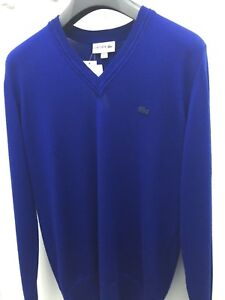 Lacoste-men-039-s-v-neck-pure-wool-jersey-sweater