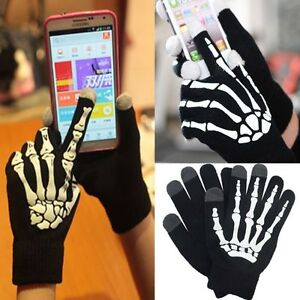 One-Pair-Skeleton-Smart-Phone-Tablet-Touch-Screen-Gloves-Winter-Mitten-UK-STOCK