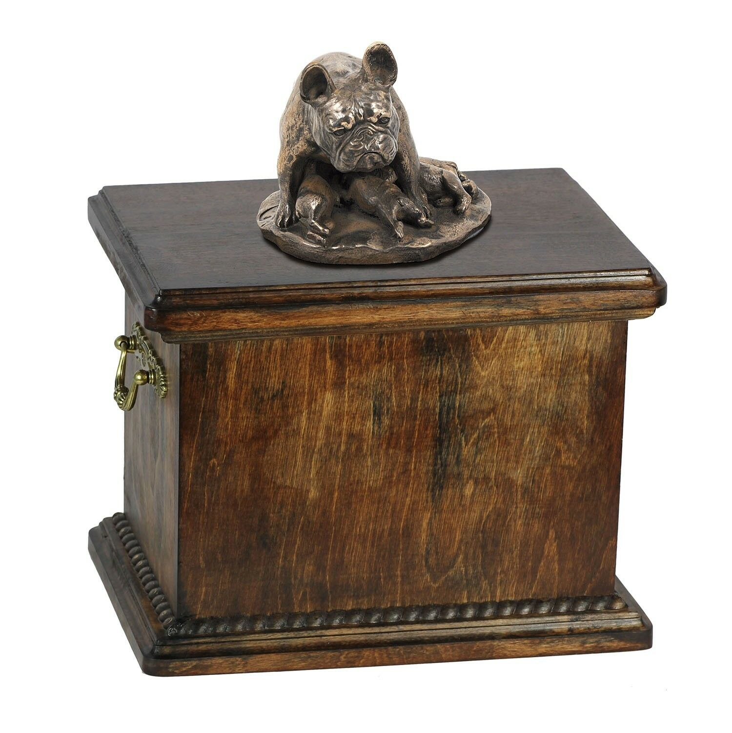 French Bulldog type 2  wooden urn with dog statue, Art Dog type 1