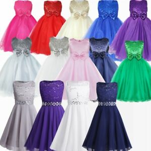 Image is loading Kids-Baby-Girls-Flower-Princess-Party-Sequins-Wedding- d6dd420b5fb8