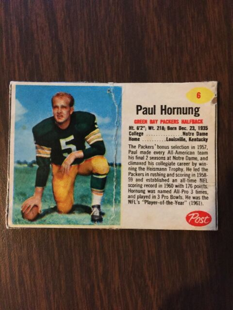 1962 Post Paul Hornung #6 Geen Bay Packers Football Card