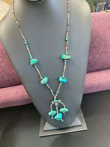 Natural Stone Turquoise Nugget Heishi Shell Pendant Long Necklace  30""