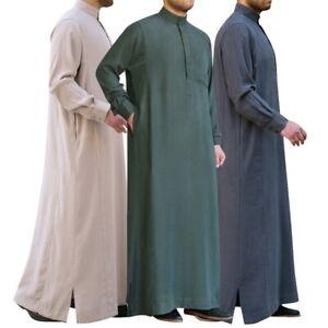 LES-HOMMES-MUSULMANS-DE-Thobe-Islamic-Arabic-Caftan-pleine-longueur-manches-longues-Robe-Tops-03