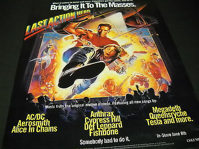 Entertainment Memorabilia Audacious Last Action Hero 1993 Promo Poster Ad Ac/dc Alice In Chains Queensryche Others Supplement The Vital Energy And Nourish Yin