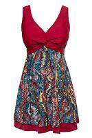 Wantdo Women's Slimming Modest Vintage Peacock One Piece Swimwear Winered Us 12