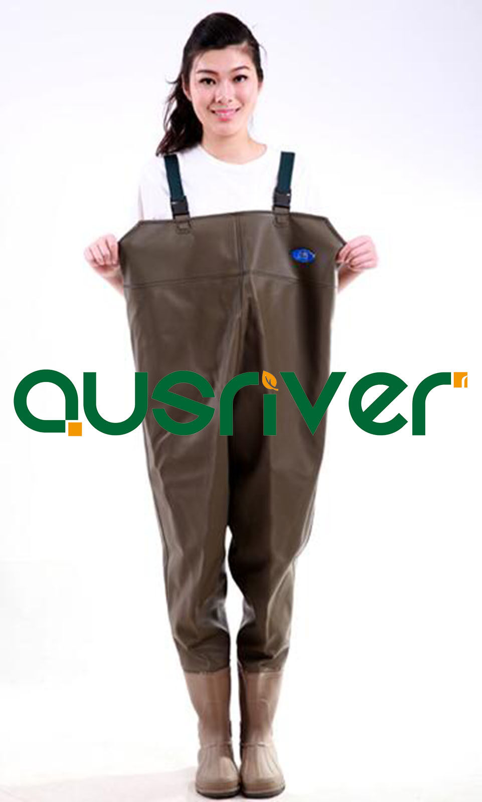 Premium Brown 0.9 PVC Glue Rubber Chest Fishing Wader Waterproof Wader Boots