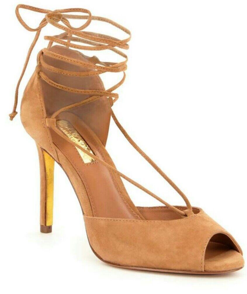 RALPH LAUREN Linden Suede Sandal Pump Camel Size 9.5 EU 40.5 MSRP  120