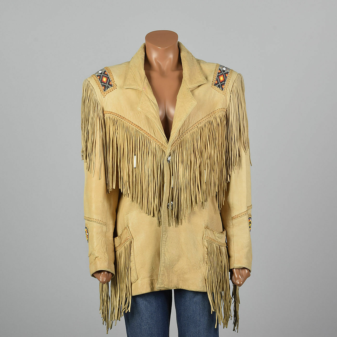 Womens Traditional Traditional Traditional Western Suede Leather Cowboy Fringe Native American Bead Coat 7082ba