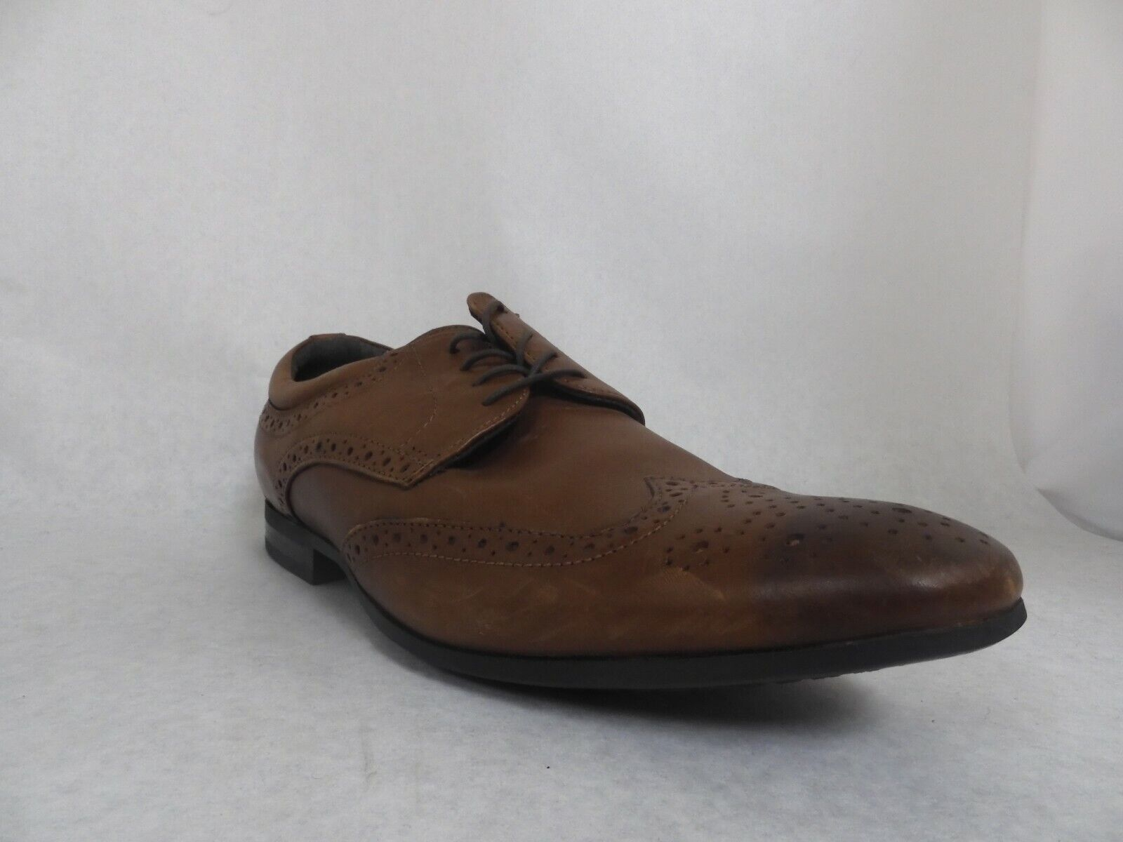 Kenneth Cole Reaction Zeke Brown Leather Wingtip Oxfords Men's Size 12