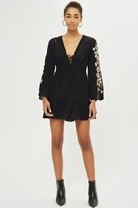 20df4be1257 Image is loading Ex-TOPSHOP-Black-Embroidered-Sleeve-Lace-Up-Crepe-