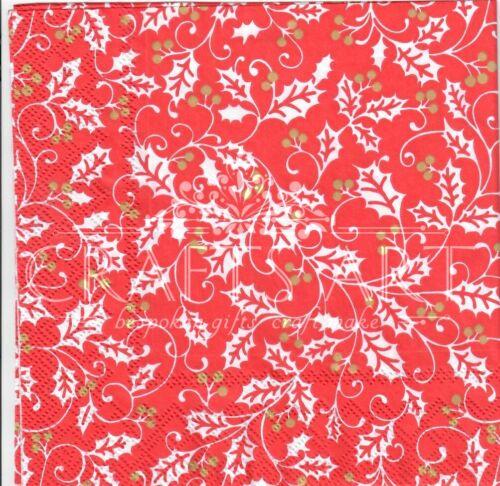 rouge Holly Design-X88 4 Simple papier DECOUPIS serviettes fond Noël
