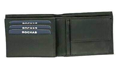 """""""rochas"""" Mens Thomas Wallet With Coin Section + 6 Card Slots Black Leather"""