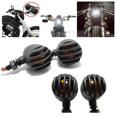 4X 12V LED Black Bullet Motorcycle Turn Signal Blinker Indicators Amber Lights
