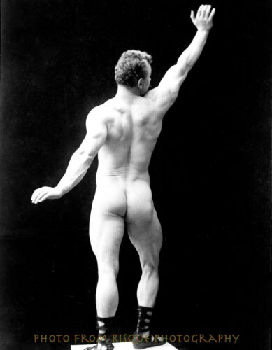 """Nude Man With Arm Raised From Behind 8.5x11/"""" Photo Print Naked Male Bodybuilder"""