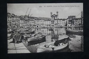 Postcard-Antique-Etching-Part-of-The-Old-Port-And-Church-st-Jean