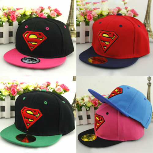 Kids Superhero Batman Superman Baseball Clip-on Cap Hat One Size Fits Most ❤Aus❤