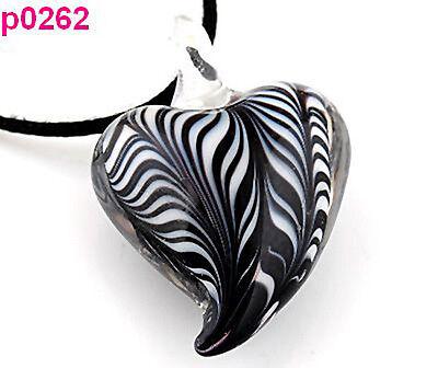 handmade heart art beaded Pendant necklace p0262