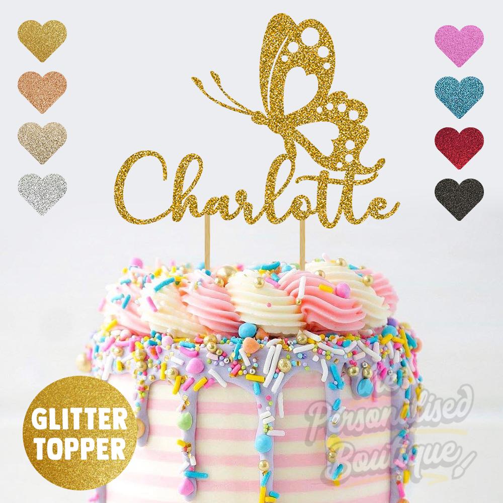 Personalizado Personalizado Brillo Cake Topper Mariposa Niñas Cumpleaños, agregue cualquier nombre