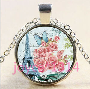 Vintage-Eiffel-Tower-Cabochon-Tibetan-silver-Glass-Chain-Pendant-Necklace-4434