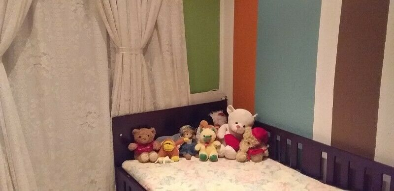Toddler Bed (Dark wood) with foldable sides