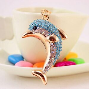 Crystal-Dolphins-Handbag-Keyrings-Rhinestones-Shiny-Decoration-Jewelry-Keychain