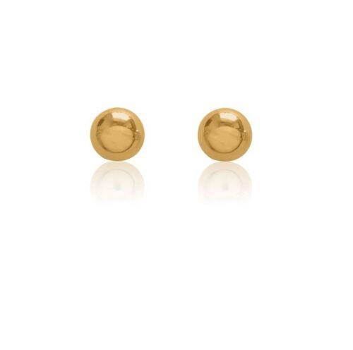 14K réel or jaune boule Brillant Clous D/'oreilles 5 mm