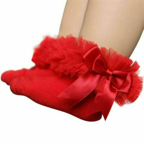 Soft Solid Color Bow Tutu Socks Kids Sock Toddler Ankle Baby Girls Leggings