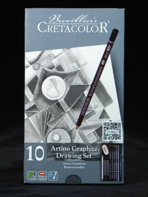 10 Piece Graphite Pencil Drawing Set NEW Artist Quality Pencils Tin Cretacolor