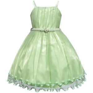 8ae47a6a920 Sunny Fashion Robe Fille Vert Cap Perle Ceinture Mariage Partie