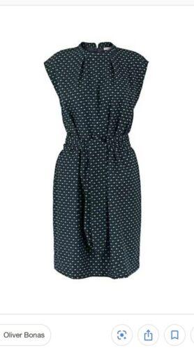 NEW OLIVER BONUS UK10 LADIES GOOD VIBES DOBBY DRESS NAVY SLEEVELESS RRP £85