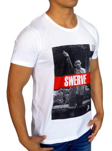NEW MENS WHITE T SHIRT SWERVE CASUAL FASHION RETRO WILL SMITH FRESH PRINCE SWAG