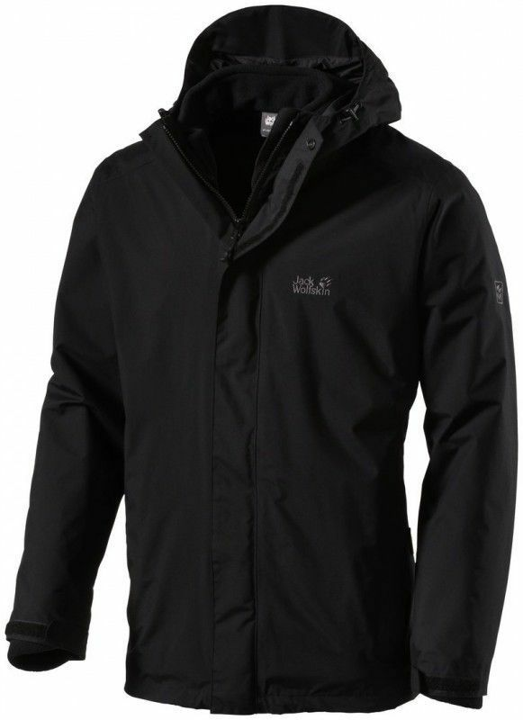 new arrival b3e84 f7a32 Jack Wolfskin Mens Iceland 3in1 Jacket Black 2xl