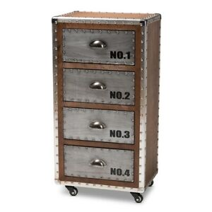 Rolling-Accent-Chest-French-Industrial-Brown-Wood-And-Silver-Metal-4-Drawer