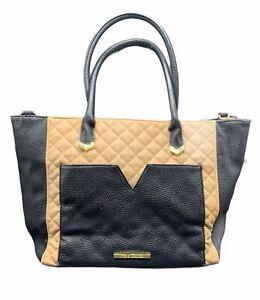 Steve Madden 2 Tone Leather Black And Beige shoulder Handbag Purse