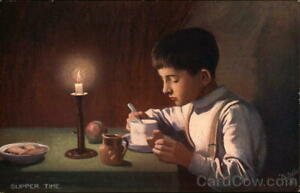 Oilette-034-Supper-Time-034-Boy-Eating-Soup-and-Bread-by-Canglelight-Tuck-Postcard